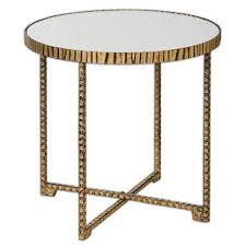 embossed gold base round accent table