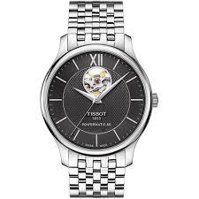 shop men s tissot t063 907 11 058 00 watch francis gaye jewellers men 039 s tradition automatic grey dial open heart watch