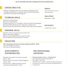 Sample Resume Format For Fresh Graduates One Page Sin Muygeek