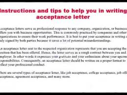 How To Write Acceptance Letter - Youtube