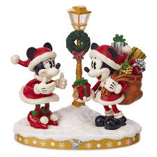 Mickey Christmas Lights Santa Mickey And Minnie Mouse Holiday Light Up Figurine