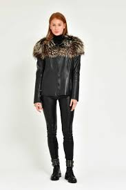 adamo woman black leather jacket