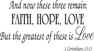 Buy Faith Hope Love Corinthians Wall Quote Decal Scripture Bible Simple Love Faith Hope Quotes