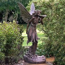 garden fairy statues. Large Stunning Bronze Effect Standing Fairy - Garden Ornament / Sculpture Statues I