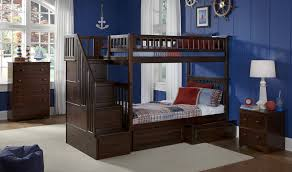 Blue Nautical Kids Boys Room Features Dark Espresso Twin Over Twin Bunk Bed  With Stairs And