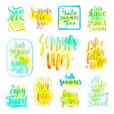 Sommerferien Und Urlaubsgrüße Zitate Und Sprüche Vektor Set Von