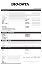 bio data for resume cipanewsletter sample resume bio data