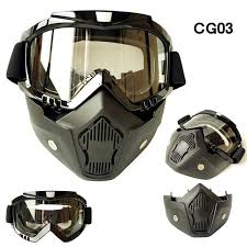motocross ski goggles mask motorcycle helmet goggles detachable mask goggles mouth filter for open face helmets cafe