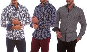Patterned Button Up Shirts Delectable Azaro Uomo Men's Printed Button Down Shirts David WhiteSmall