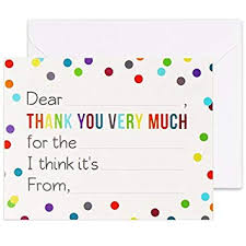Blank Thank You Notes Fill In The Blank Thank You Cards With Envelopes For Kids Confetti Dot Flat Notes Pack Of 36