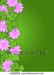 Paper With Flower Border Shamrock Paper Cutting Clover Flowers Border Stock