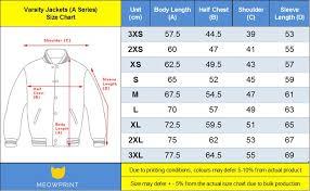 Varsity Jacket Size Chart Basic Varsity Jackets
