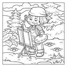 coloring book for children artist draws on nature open air stock vector