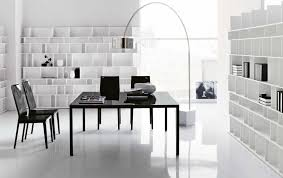 modern white office with simple black desk as a centerpiece awesome black white office design