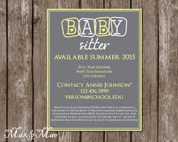 babysitting flyer babysitting announcement personalized 🔎zoom