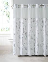 hookless shower curtain waterproof peva liner white blue cherry bloom polyester
