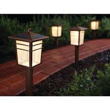 hampton bay square mission outdoor bronze led solar pathway light kit 4 pack