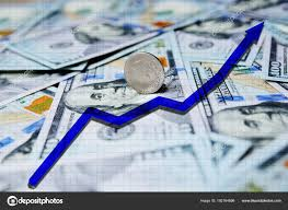 Blue Arrow Chart On The Background Of Hundred Dollar Bills