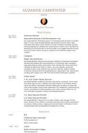 Resume Examples Teacher Enchanting Preschool Teacher Resume Samples VisualCV Resume Samples Database