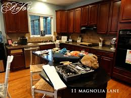 Isn't the combination of light cherry cabinets with wooden details look very cozy and stylish? Kitchen Redo Reveal From Darkness To Light 11 Magnolia Lane