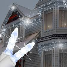 Hanging Icicle Lights On House M5 Cool White Twinkle Led Icicle Lights Christmas House