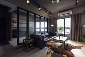 Apartment:Dark Apartment With Industrial Interior With Tufted Chesterfield  Sofa And Trunk Coffee Table Also