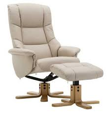 The Florence, Swivel Recliner Chair & <b>Footstool</b> in Cream <b>PU Faux</b> ...