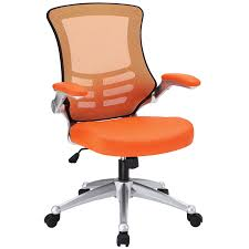 com modway attainment mesh back and orange vinyl modern office chair with flip up arms ergonomic desk and computer chair kitchen dining