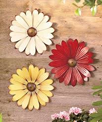 set of 3 cream red yellow metal flower wall art garden whimsical spring flowerpot decor on whimsical kitchen wall art with amazon set of 3 cream red yellow metal flower wall art garden