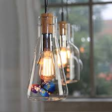 vintage clear glass wine bottle 1 light wire suspended pendant light style b