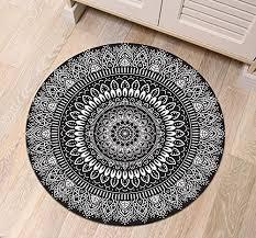 black white round mandala area rug mat indian oriental medal