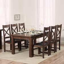 rozay dark solid oak 180cm extending dining table with 8 croydon chairs 2907
