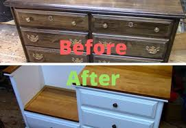 Old Dresser Turned into Bench with Storage