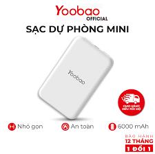 Sạc dự phòng mini 6000mAh Yoobao P6W -Thiết kế nhỏ gọn, dễ cầm -Bảo hành 12  tháng 1 đổi 1