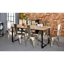 industrial kitchen table furniture. Mintis Upcycled Industrial 180cm Seater Dining Table Set With 6 Metal Silver Chairs Kitchen Furniture T