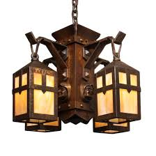 arts and crafts chandelier. Handsome Antique Arts Crafts Figural Chandelier With Monks Heads And