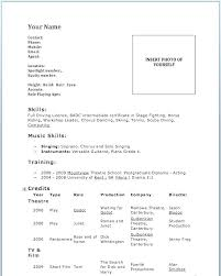 Acting Resume Sample No Experience Theater Resume Template Child Extraordinary Acting Resume No Experience