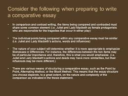 The Comparative Essay Introduction To The Comparative Essay To