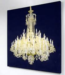 it s a canvas print where the chandelier actually lights up it s a big pain to hang a chandelier on it s own so this seems like the perfect alternative