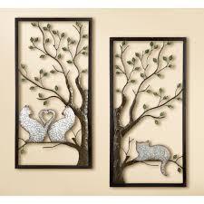 tree double panel metal wall art