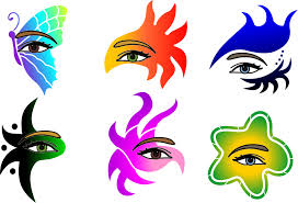 full face and hair stencils eyes masks crowns