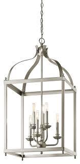 kichler larkin six light brushed nickel open frame foyer hall fixture