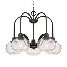 quoizel trilogy 26 in 5 light old bronze industrial seeded glass shaded chandelier