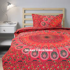 twin red peafowl boho bedding mandala duvet cover set with one pillow cover royalfurnish com