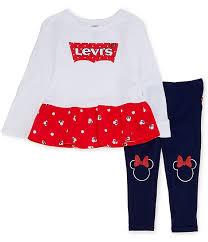 Dillards Junior Size Chart Disney X Levis Little Girls 2t 6x Minnie Mouse Logo Peplum Top Legging Set