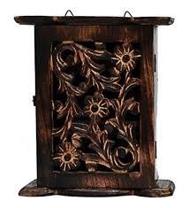 Key box holder Shabby Chic Tentivese Tentivese Solid Wood Carved Wall Mount Key Box Key Holder Afr207