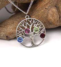custom made personalized family tree necklace pendant with birthstones swarovski crystals