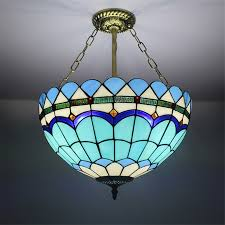 image of blue stained glass chandelier