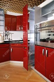 Red Kitchen Cupboard Doors Modern Kitchen Cabinet Door A Deep Red Stock Photo Picture And