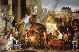 triumphal entry of alexander the great into babylon charles le bru painting art wallpaper